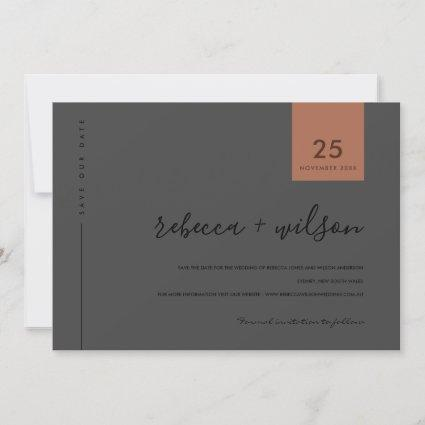 MINIMAL SCANDI COOL BLACK ON BLACK RUST TYPOGRAPHY SAVE THE DATE