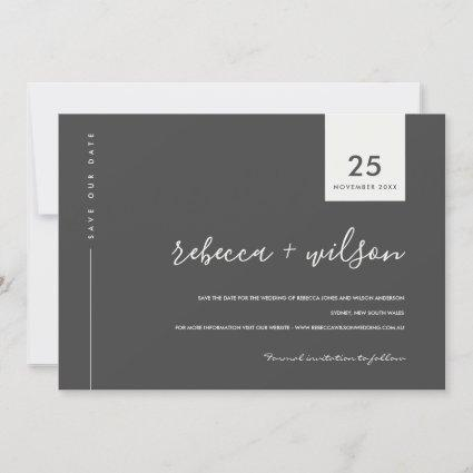 MINIMAL SCANDI MODERN BLACK AND WHITE TYPOGRAPHY SAVE THE DATE