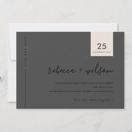 MINIMAL SCANDI MODERN BLACK BLUSH PINK TYPOGRAPHY SAVE THE DATE