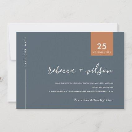 MINIMAL SCANDI MODERN BLUE GREY RUST TYPOGRAPHY SAVE THE DATE