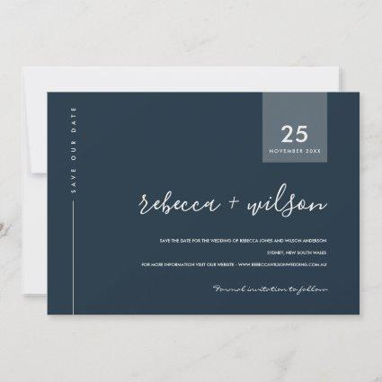 MINIMAL SCANDI MODERN NAVY BLUE GREY TYPOGRAPHY SAVE THE DATE