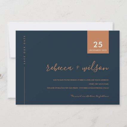 MINIMAL SCANDI MODERN NAVY BLUE RUST TYPOGRAPHY SAVE THE DATE