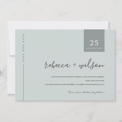 MINIMAL SCANDI MODERN SOFT BLUE GREY TYPOGRAPHY SAVE THE DATE