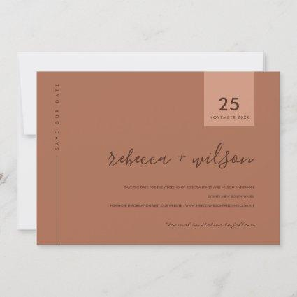 MINIMAL SCANDI TERRACOTTA RUST ORANGE TYPOGRAPHY SAVE THE DATE