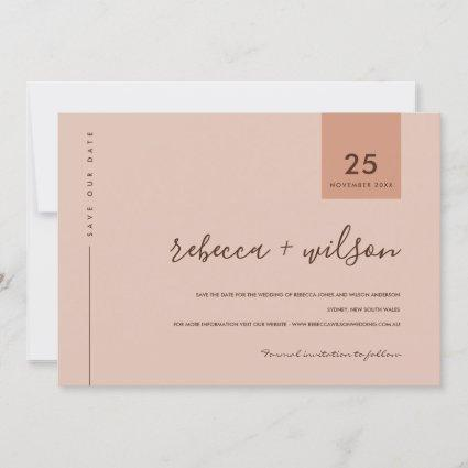 MINIMAL SCANDI TERRACOTTA RUST PEACH TYPOGRAPHY SAVE THE DATE