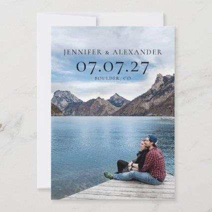 Minimal Typography Photo Overlay Save the Date
