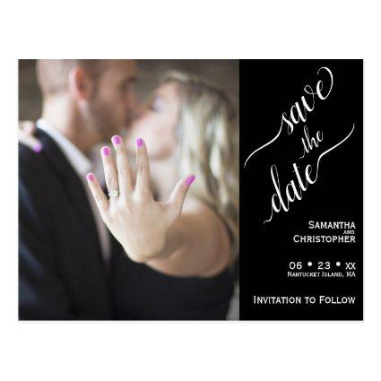 Minimal White on Black Wedding Save the Date Photo