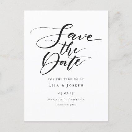Minimalist Black and White Script Save the Date Announcement