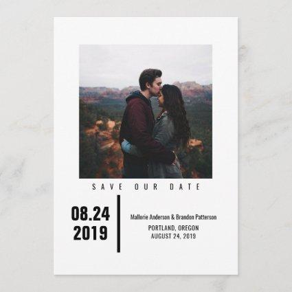 Minimalist Chic Photo Save the Date | Black