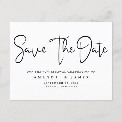 Minimalist Elegant Vow Renewal Save The Date Announcement