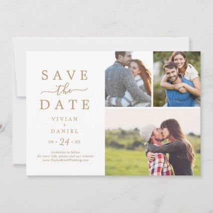 Minimalist Gold 3 Photo Collage Save The Date