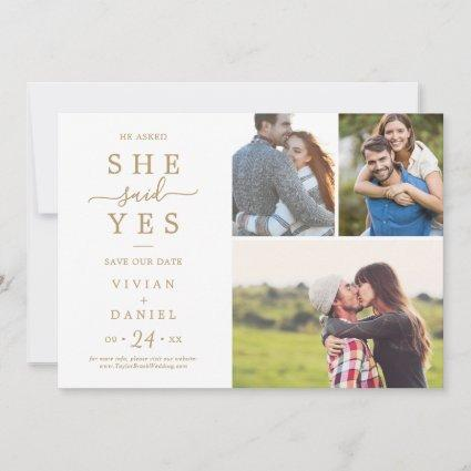 Minimalist Gold She Said Yes 3 Photo Collage Save The Date