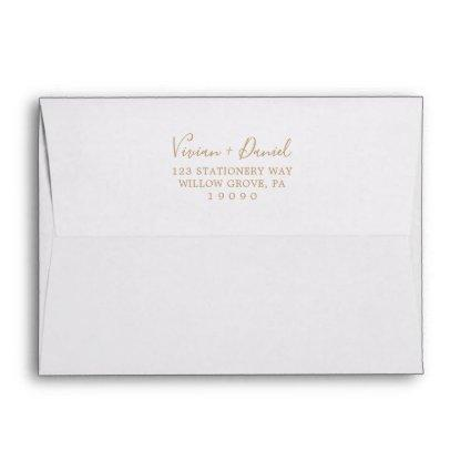 Minimalist Gold Wedding Invitation Envelope