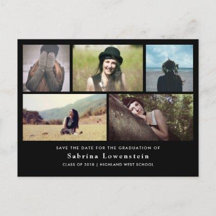 Minimalist Graduate Five Photo Save The Date Black Announcements Cards