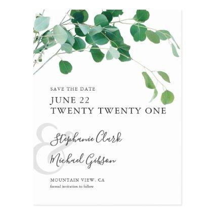 Minimalist Green Leaves Save the Date Custom Cards