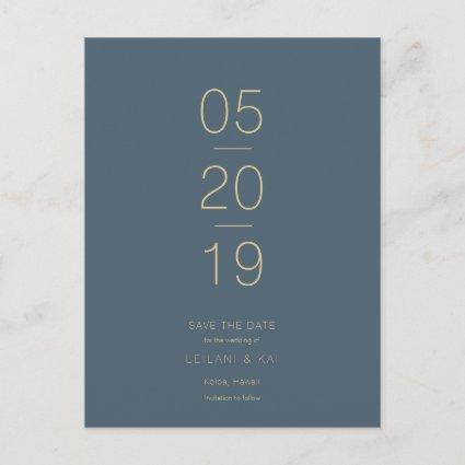 Minimalist Midnight Blue Save the Date Cards