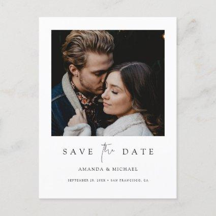 Minimalist Modern Photo Custom Save the Date Announcement