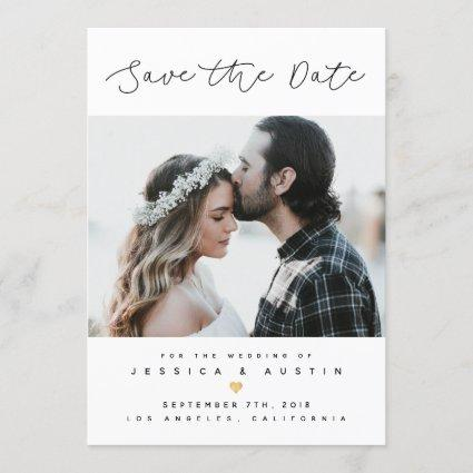 Minimalist Photo Save the Date | Black & Gold