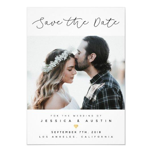 Minimalist Photo Save the Date | Black & Gold Card