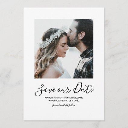 Minimalist Photo Save the Date | White