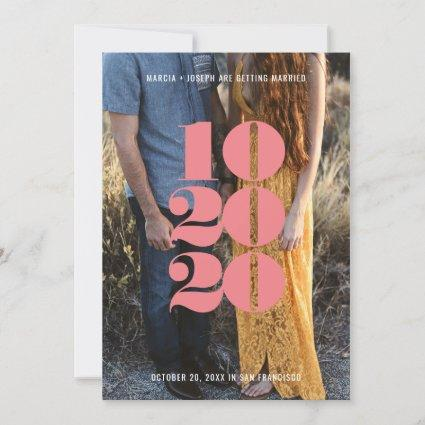 Minimalist Pink Numeric Date Save the Date Photo Holiday Card