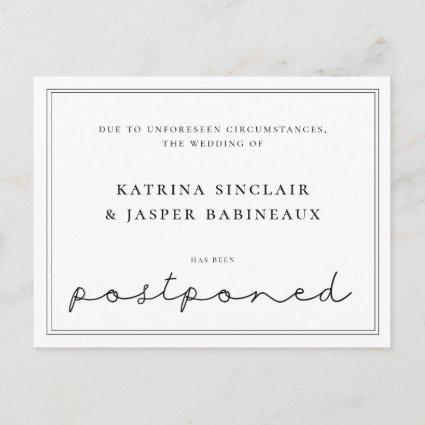 Minimalist Postponed Wedding Announcement