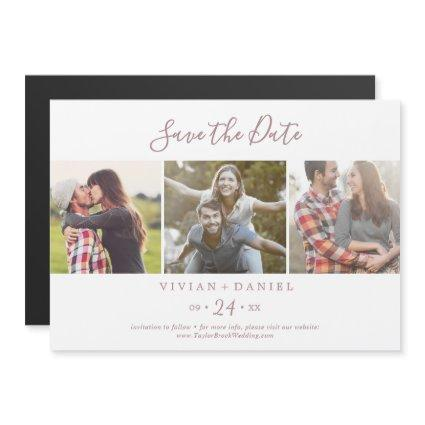 Minimalist Rose 3 Photo Template Save the Date Magnetic Invitation
