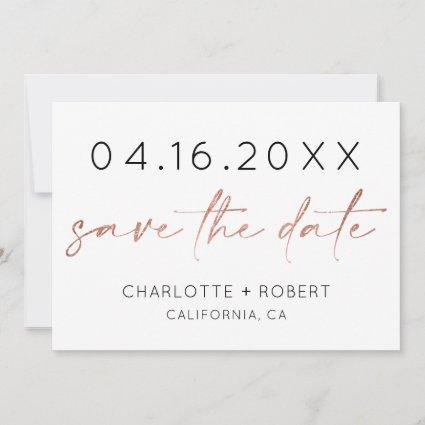 Minimalist rose gold script font save the date