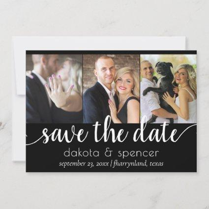 Minimalist Script | Black and White Modern 3 Photo Save The Date