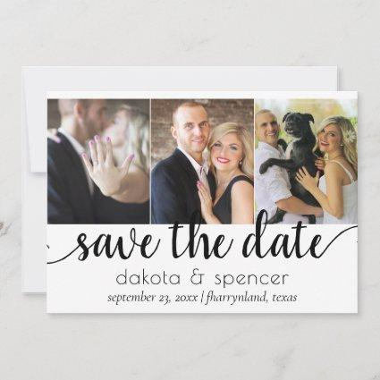 Minimalist Script | Black and White Simple 3 Photo Save The Date