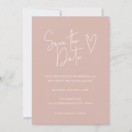 Minimalist Signature Font Dusty Pink Save the Date