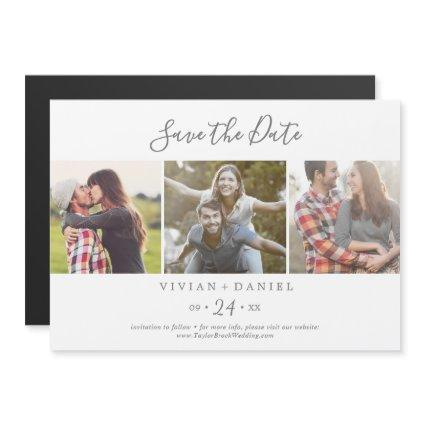 Minimalist Silver 3 Photo Template Save the Date Magnetic Invitation