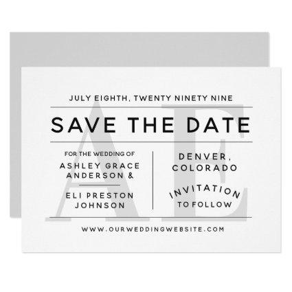 Minimalist Soft Gray Typography Save the Date Invitation