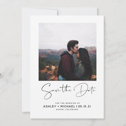 Minimalist Typography White Photo Save the Date