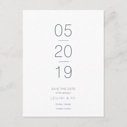 Minimalist White & Navy Blue Save the Date Announcement
