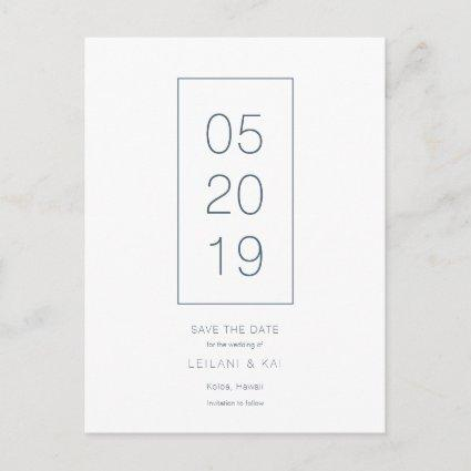 Minimalist White & Navy Save the Date Cards