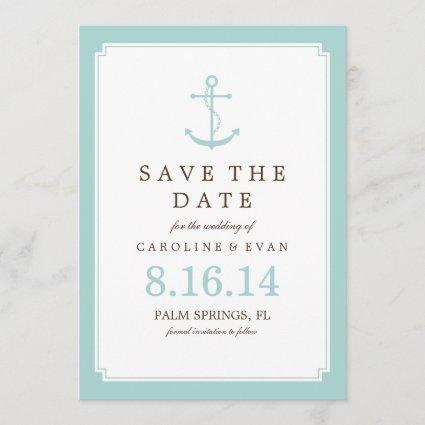 Mint Anchor Wedding Save the Date