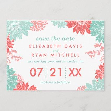 Mint and Coral Modern Floral Save the Date
