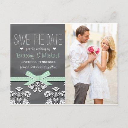 Mint Chalkboard Lace Bow Save the Date Cards