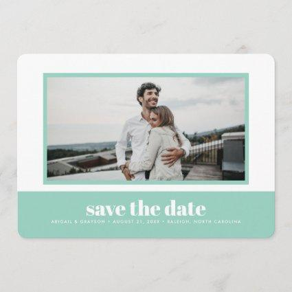 Mint Color Block Photo Save the Date Card