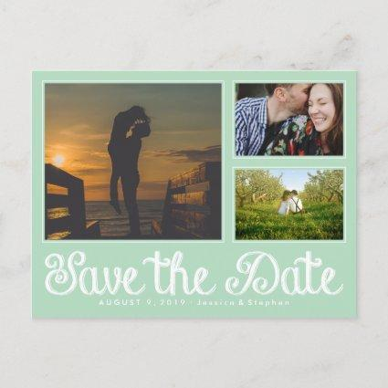 Mint Fun Chalk Save The Date Collage Cards