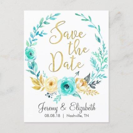 Mint & Gold Floral Save the Date Cards