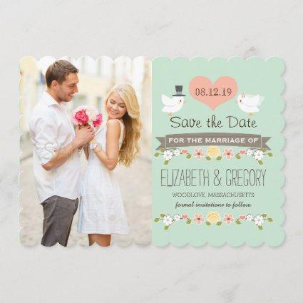 Mint Green Love Birds Wedding Save the Date Card