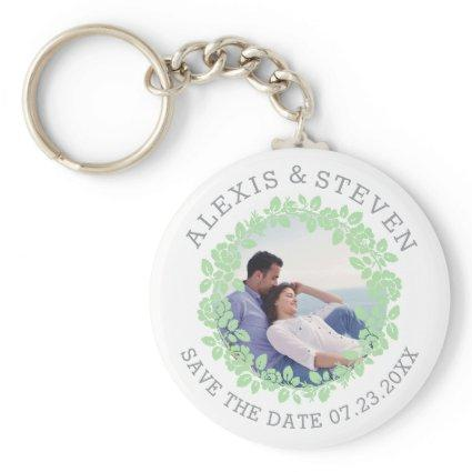 Mint green roses floral Save the Date photo Keychain