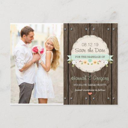 MINT GREEN RUSTIC FLORAL BOHO SAVE THE DATE ANNOUNCEMENT