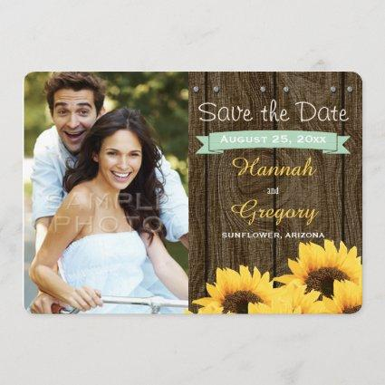 MINT GREEN RUSTIC SUNFLOWER SAVE THE DATE Cards