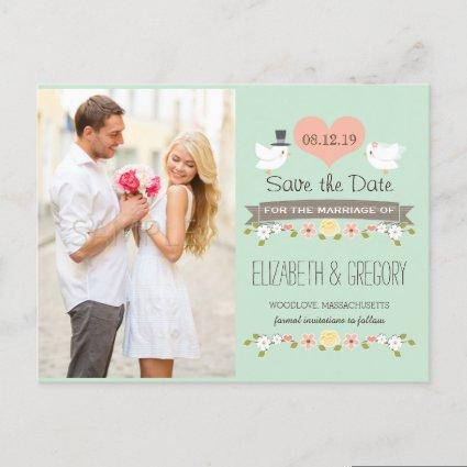 MINT LOVE BIRDS DOVE SAVE THE DATE ANNOUNCEMENT
