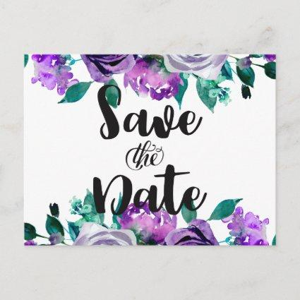 Mint & Purple Floral Rose Wedding Save the Date Announcement