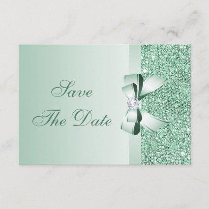 Mint Sequins, Bow & Diamond Save the Date Wedding