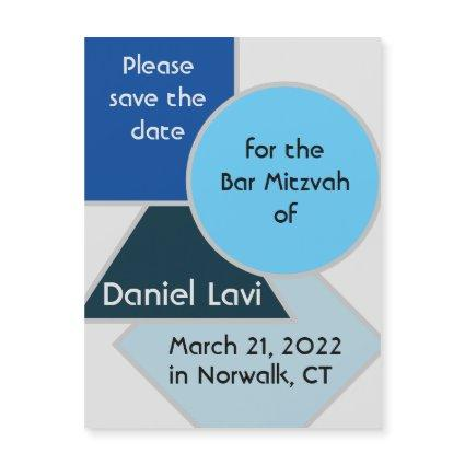 Mod Blue Shapes Save the Date Magnet